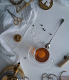 Tea, scales, candles, scissors, letter on the table. space for text. top view. Stock Images