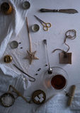 Tea, scales, scissors, letter on the table. space for text. top view. Stock Photo