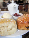 Tea and Scones. English tea is often served with scones and jam Stock Photo