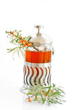 Tea and sea buckthorn Stock Photos