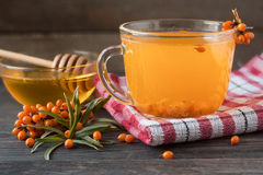 Tea of sea-buckthorn berries with honey and a branch on wooden background Stock Photos