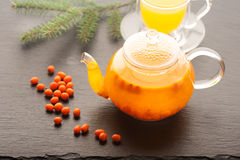 Tea with sea-buckthorn berries and honey Royalty Free Stock Photography