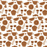 Tea seamless doodle teatime backdrop.Cakes to celebrate any even Stock Images