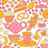 Tea  seamless doodle teatime backdrop.Cakes to celebrate a Royalty Free Stock Photo