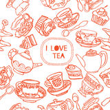 Tea seamless pattern Stock Photography