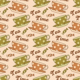 Tea seamless pattern. Seamless pattern with hand drawn polka dot teapots, cups, sweets and text Tea time Stock Image