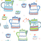 Tea seamless pattern with pots and cup Stock Photography