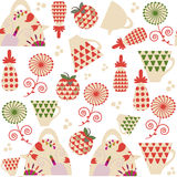 Tea seamless pattern and seamless pattern in swatch menu with fl. Owers and fruits, vector Royalty Free Stock Photos