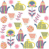 Tea seamless pattern and seamless pattern in swatch menu,. Vector  image Stock Photography