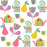 Tea seamless pattern and seamless pattern in swatch menu,. Image. Cute vector texture Stock Photo