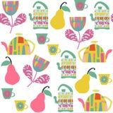 Tea seamless pattern and seamless pattern in swatch menu,  Stock Photo