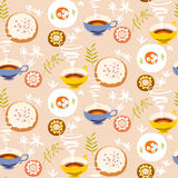 Tea seamless pattern. Stylized tea cups, plates with sugar Stock Images