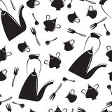 Tea-seamless pattern. Seamless pattern of tea-time in black and white Royalty Free Stock Image