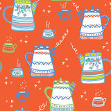 Tea seamless pattern wih cups and pots funny Stock Image