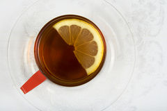 Tea series 1. Top view of a cup of tea with lemon Stock Image