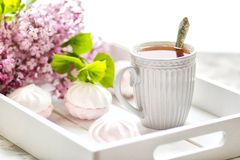 The tea served in a gift box with marshmallows and a bouquet of a lilac. Close up. royalty free stock photos