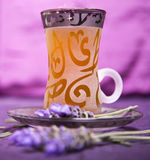 Tea served with lovely lavender royalty free stock photography