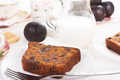 Tea served with traditional British fruit cake Stock Photos