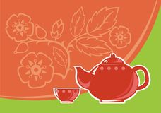 Tea service. Teapot and cup on an orange-green background with decorative colors Royalty Free Stock Photos