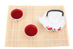 Tea service-cup and teapot the Japanese style Royalty Free Stock Photos