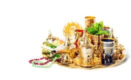 Tea service green mint Ramadan decoration lantern vibrant Stock Images