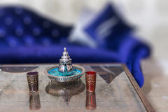 Tea service. In a Moroccan style lounge Royalty Free Stock Photography