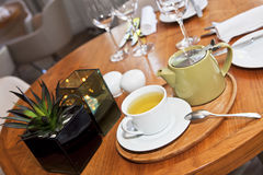 Tea service in reastaurant Stock Photo