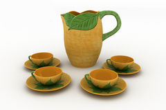A tea serving in brown ceramic cups and teapot Stock Photo