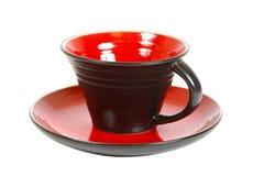 Tea set. Ceramic mug and saucer isolated. Clipping path Stock Image