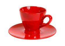 Tea set. Ceramic mug on saucer isolated. Clipping path Royalty Free Stock Image