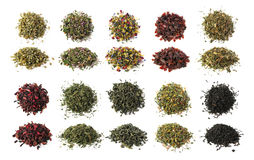 Tea set. Black, green and herbal teas set isolated Stock Image