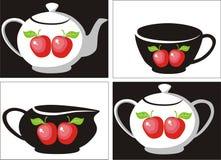 Tea set 3. Vector. Coffee and tea set stock illustration