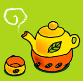 Tea set. A vector, illustration for a tea set with leaf texture on it Royalty Free Stock Image