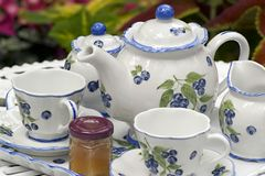 Tea Set. Close up view of a beautiful tea set stock photography