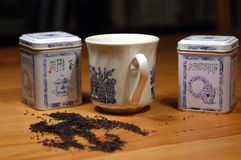 Tea set. Tea pot a tea canisters stock images