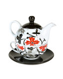 Tea set. Ornate ceramic teapot with cup set. With clipping path Royalty Free Stock Image