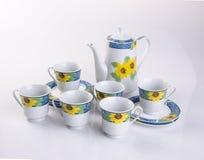 tea set or antique porcelain tea set on background. Royalty Free Stock Photo