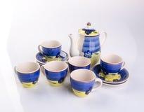 tea set or antique porcelain tea set on background. Royalty Free Stock Photos