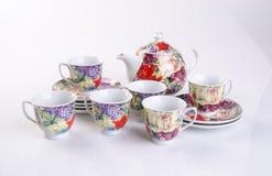 tea set or antique porcelain tea set on background. Royalty Free Stock Images