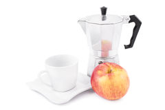 Tea set and apple Stock Photo