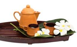 Tea set. Asian tea set with flower Stock Image