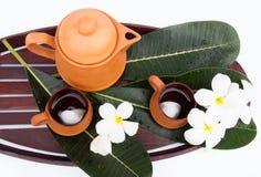 Tea set. Asian tea set with flower Stock Photos