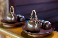 Tea-set at asian teahouse royalty free stock photography