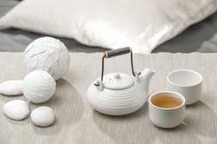 Tea set at beautiful lounge Royalty Free Stock Photos