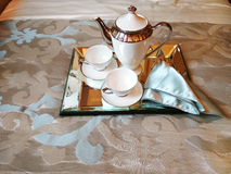Tea set on the bed Stock Image