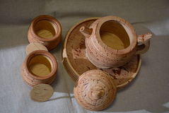 Tea set from birch bark Stock Images