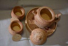 Tea set from birch bark Stock Images