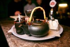 tea set brown with mugs and sugar stock image