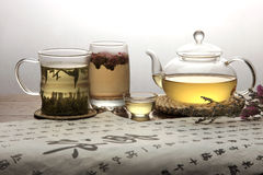 Tea set and calligraphy Stock Photography