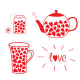 Tea set collection with hearts. Teabag, teacup and teapot. Love Royalty Free Stock Image